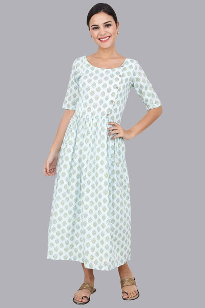 Mint Gathered Maxi Dress for Women