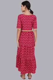 Fuschia Tiered Maxi Dress For Women