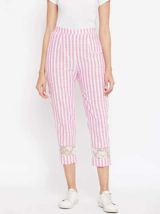 White & pastel pink striped pants in cotton