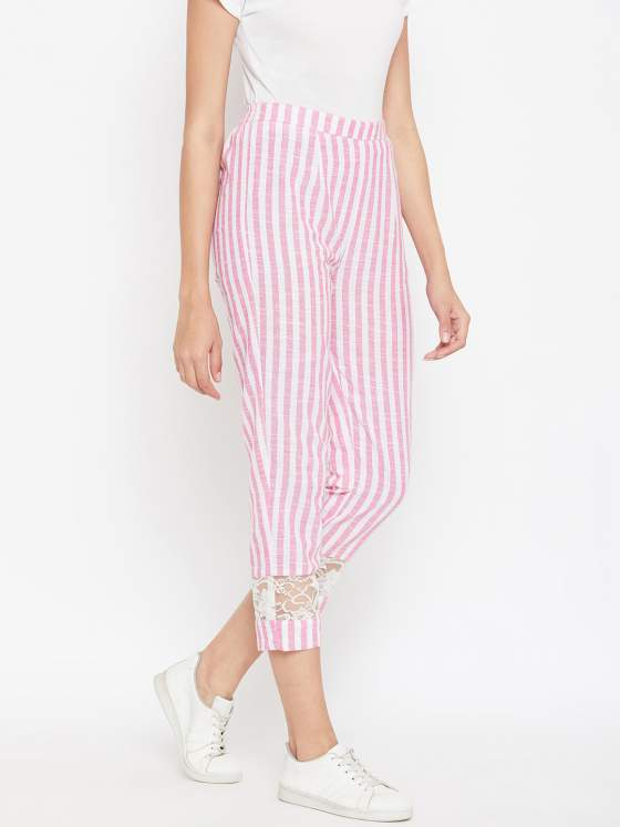 Add this comfortable pair of cotton striped pants for summer.