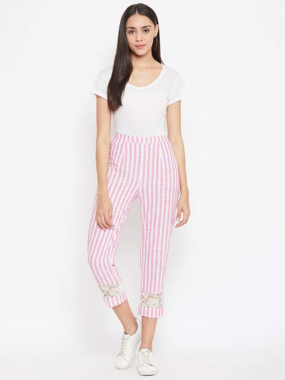 Cotton striped pants with lace detailing