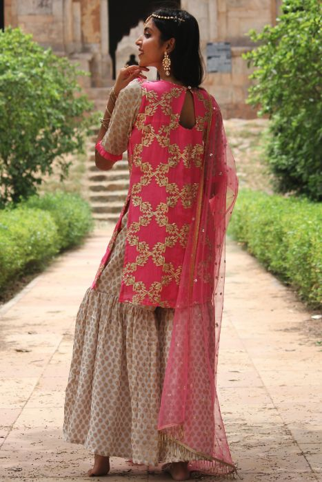 Women's Gehra Gulaal Gharara Suit – Set Of 3