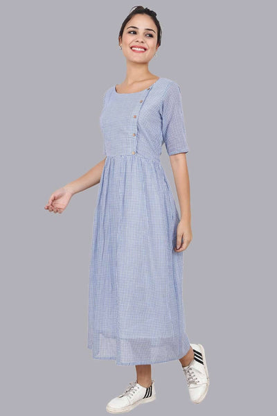 Women's Blue Plaid Gathered Dress