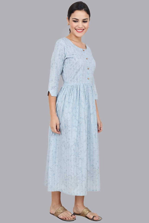 Women's Blue Gathered Maxi Dress