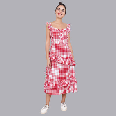 Women's Red Checkered Tiered Dress