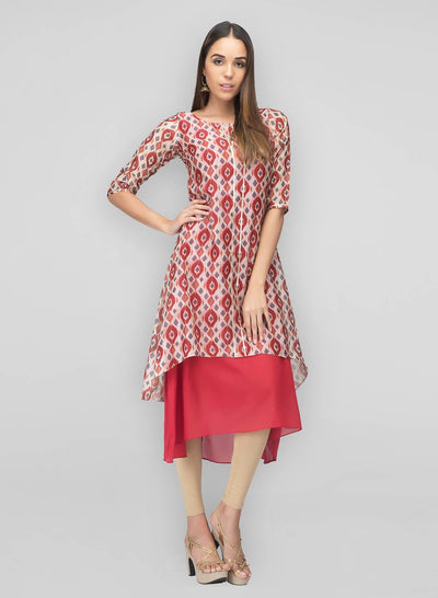 Chanderi Red White Marina Dress