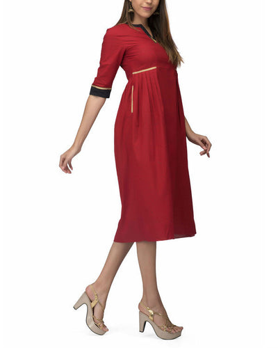 Red zig zag Side PLeat Dress