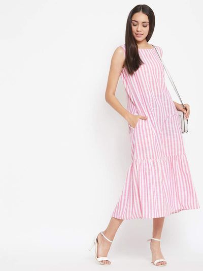A romantic long summer dress in pink vertical stripes
