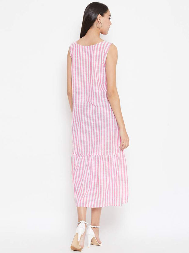 Tiered hem with light gathers and an aline fit make this cotton striped dress a summer special