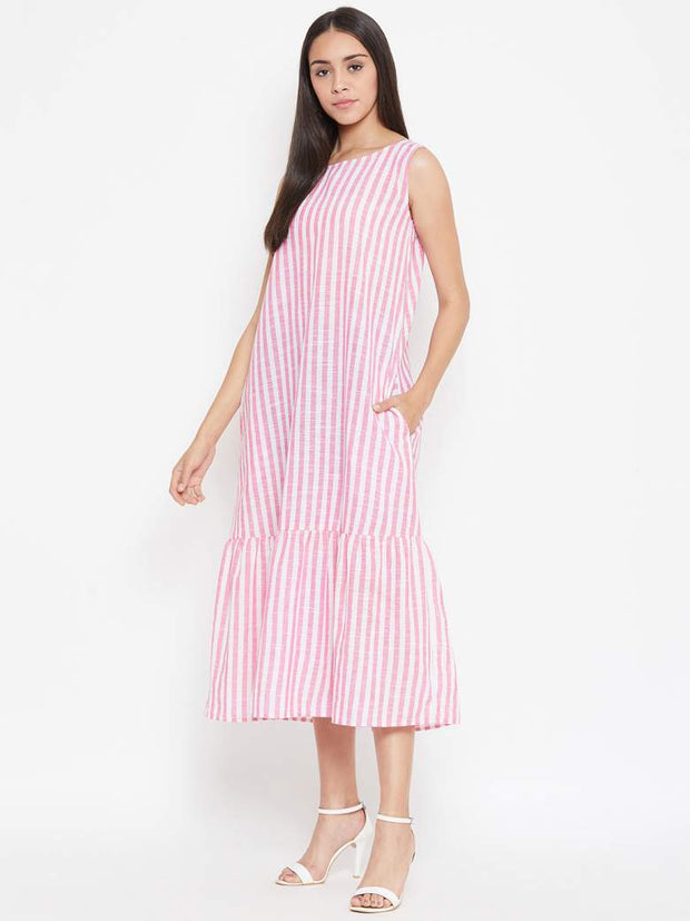 A long summer, striped maxi dress with pockets