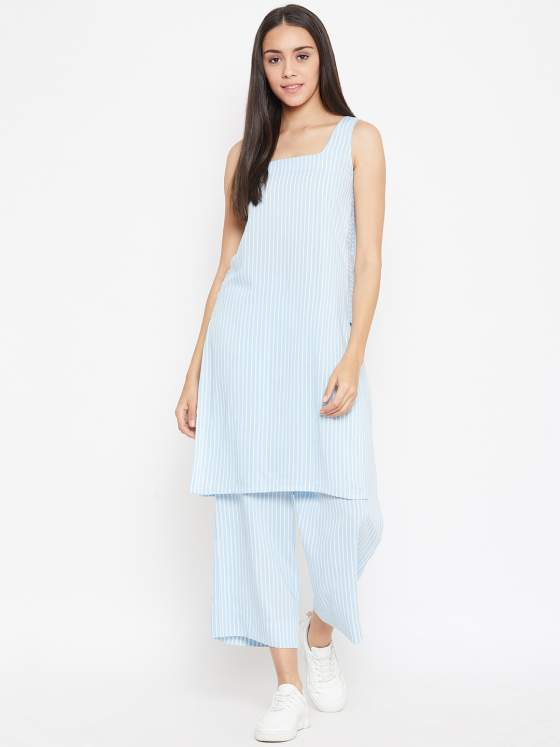 Pick this summer friendly striped kurta & palazzo set ladies for a casual look.