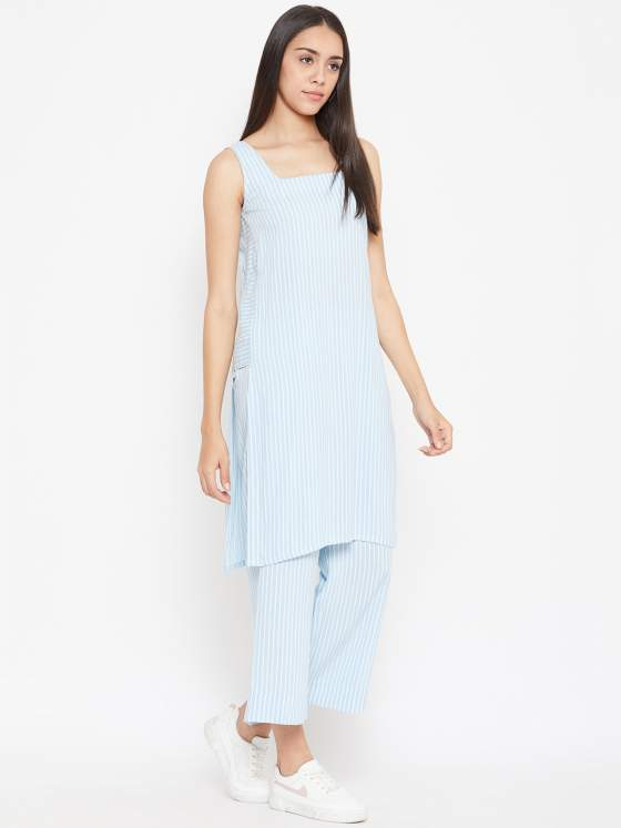 Blue Stripes Kurta with Stripes Pants