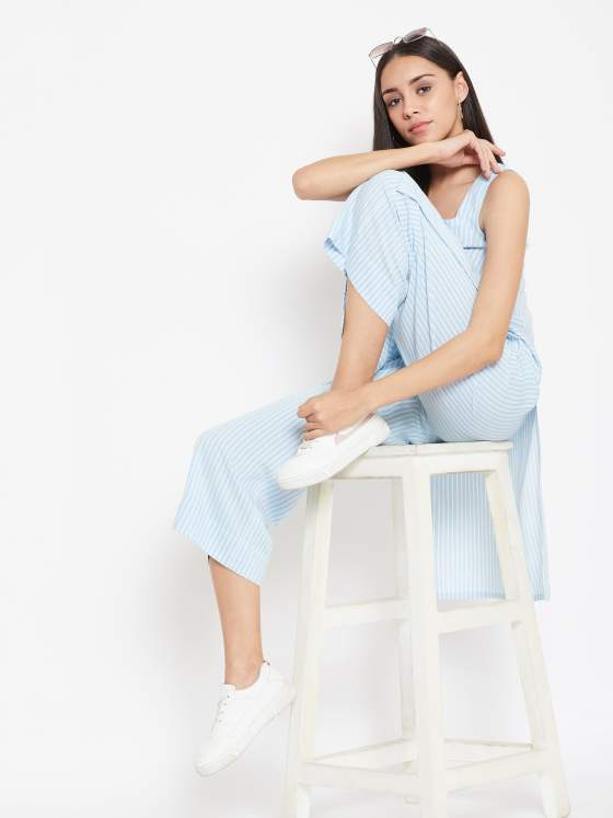 Fusion wear gets better with striped kurta paired with striped palazzos in soft blue.