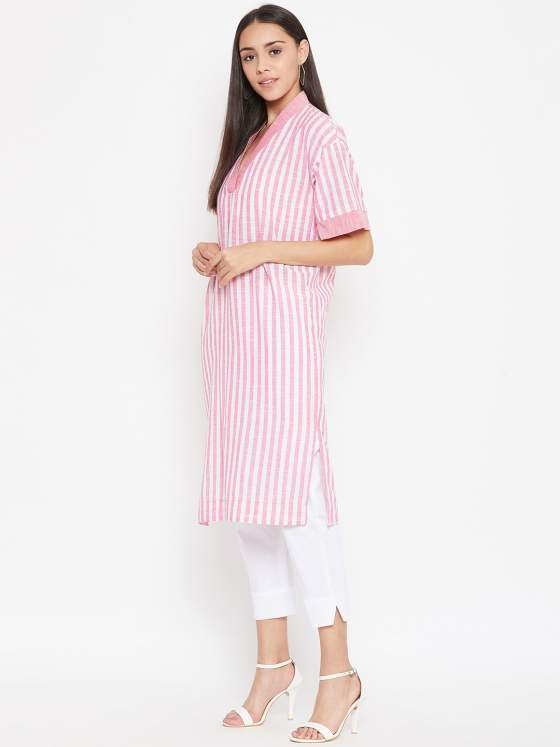 Baby pink stripes kurta in cotton slub is a perfect pick to flatter your body.