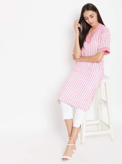 Pink striped rectangular fit kurta