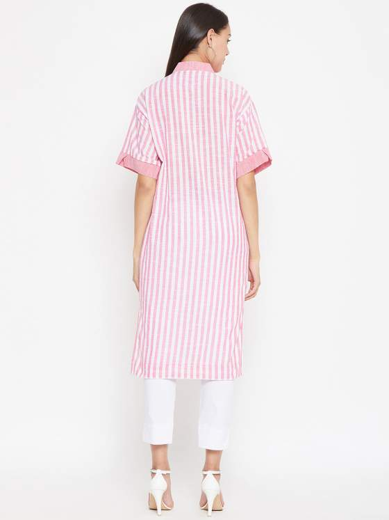 A cotton striped kurta in pink paired with white pants.