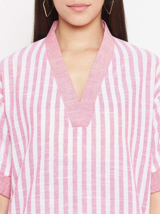 V neck pink striped kurta