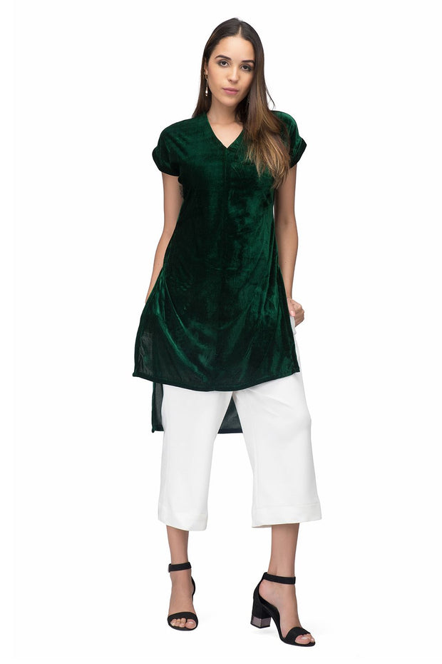 Emerald green velvet kurta for women