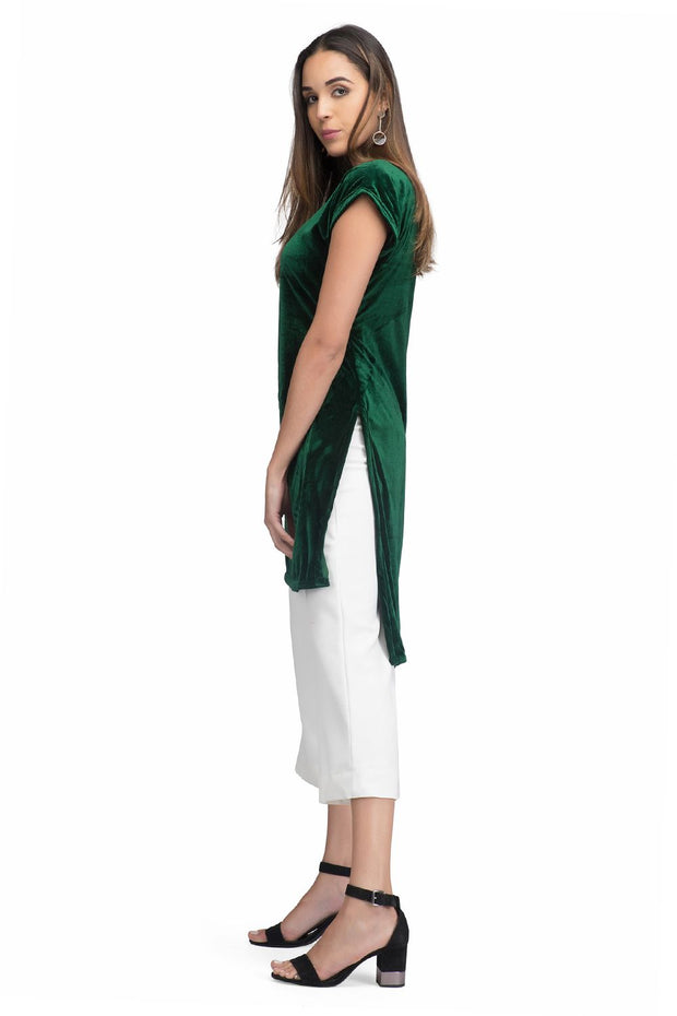 A high low cut velvet green kurta online