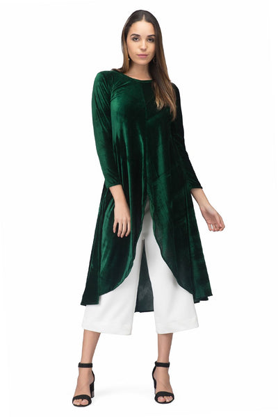 Green Asymmetrical Velvet Kurta For Women