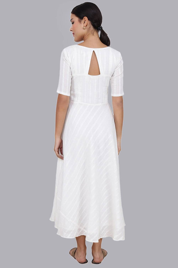 Women's White Buttoned Long Dress