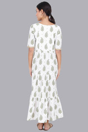 White Leaf Printed Maxi Dress For Women