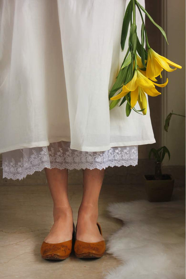 Rose Embroidered Dress In White