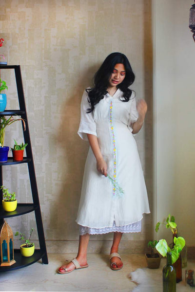 Embroidered Placket Dress In White