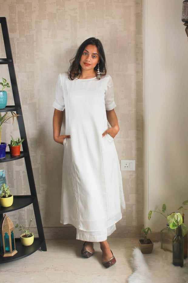 Pink tucked white aline kurta set of 2 for women