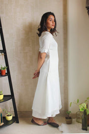A white modal silk kurta set for women who seek classic, timeless styles