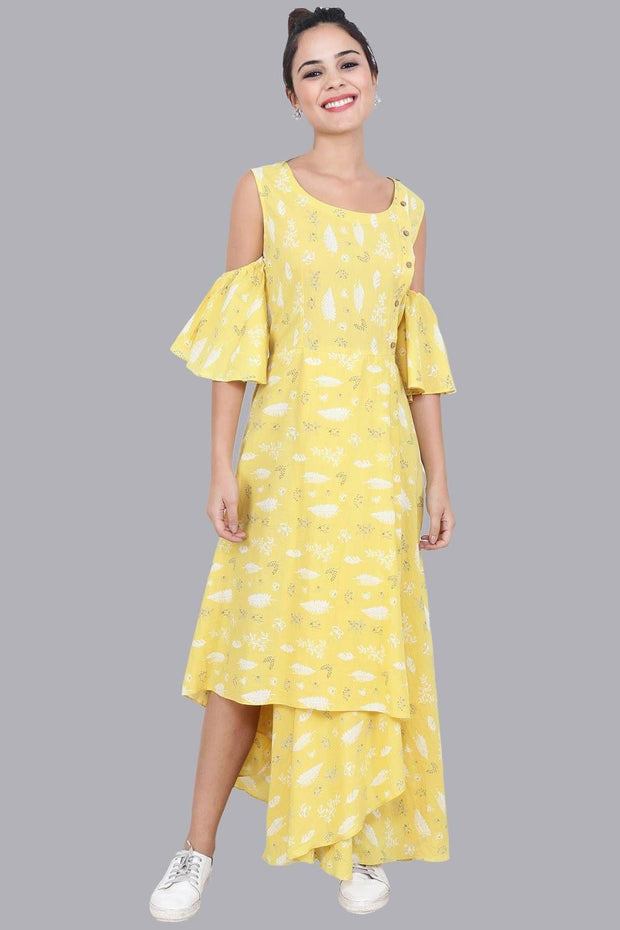 Women's Yellow Print Summer Maxi Dress