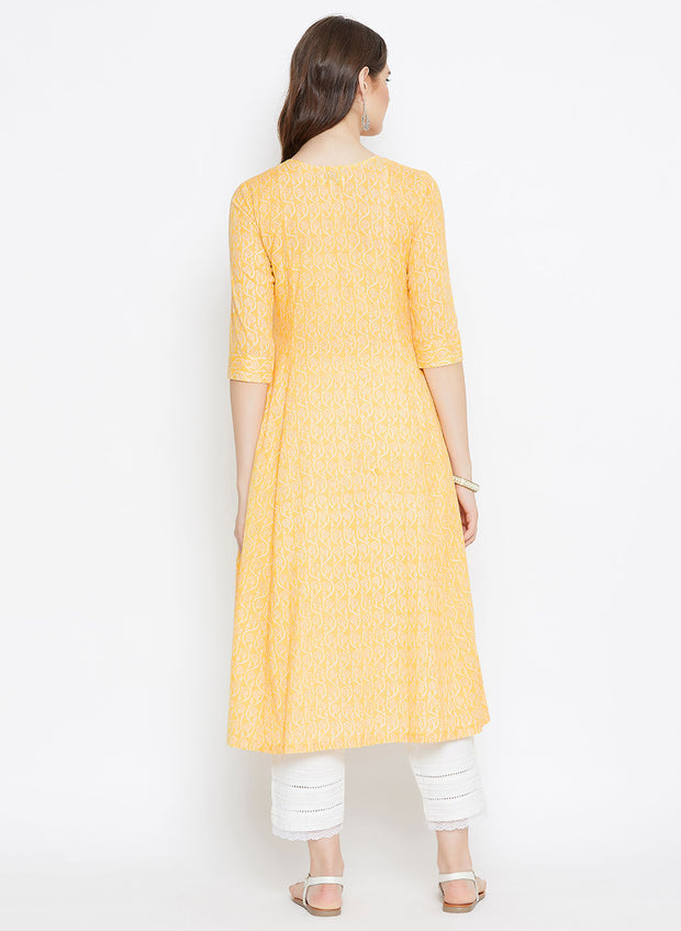 Yellow A line Kurta