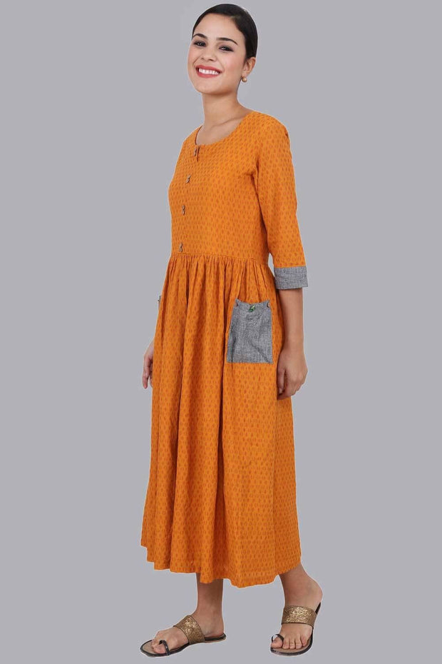 Women's Maxi Dress in Yellow Dobby