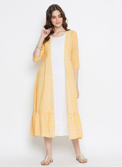 Yellow Tiered Jacket + White Inner Set