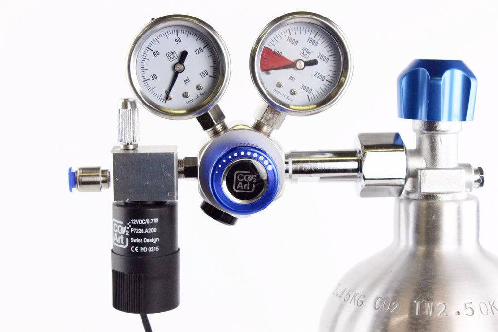 Professional Aquarium CO2 Dual Stage Regulator with 12V Swiss Solenoid and World Class Custom Built-in Needle Valve