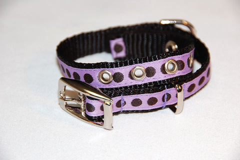 DOGzwear Small dog collar, purple with black dots, buckle collar