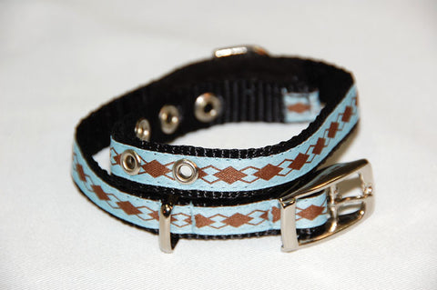 DOGzwear small dog buckle collar, light blue and brown argyle pattern