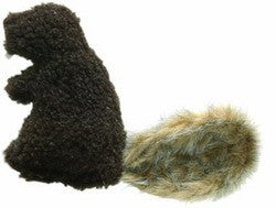Plush dark brown beaver dog toy with a fun fur tail and squeaker