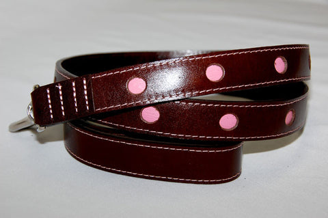 Paris Italian Leather Dog Leash. Brown with pink circle cut outs