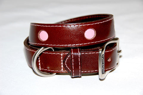 Paris Italian Leather Dog Collar. Brown with pink circle cut outs.