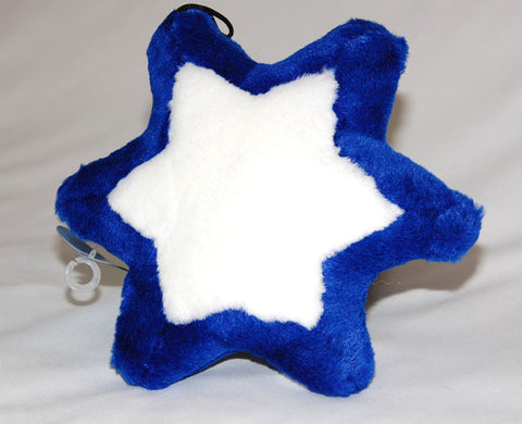 Star of David dog toy. Blue & White plush with squeaker