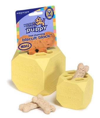 Premier biscuit block. Soft rubber block with a spot to add a treat. Great for teething puppies.