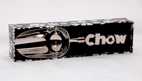 "Chrome dog food scoop with ""chow"" handle"