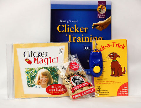 Dog Training Kit includes clicker puppy DVD, Click-a-trick cards, getting started with clicker training book and a clicker
