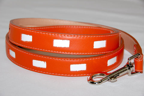 Manhattan Dog Leash. Orange and white Italian Leather