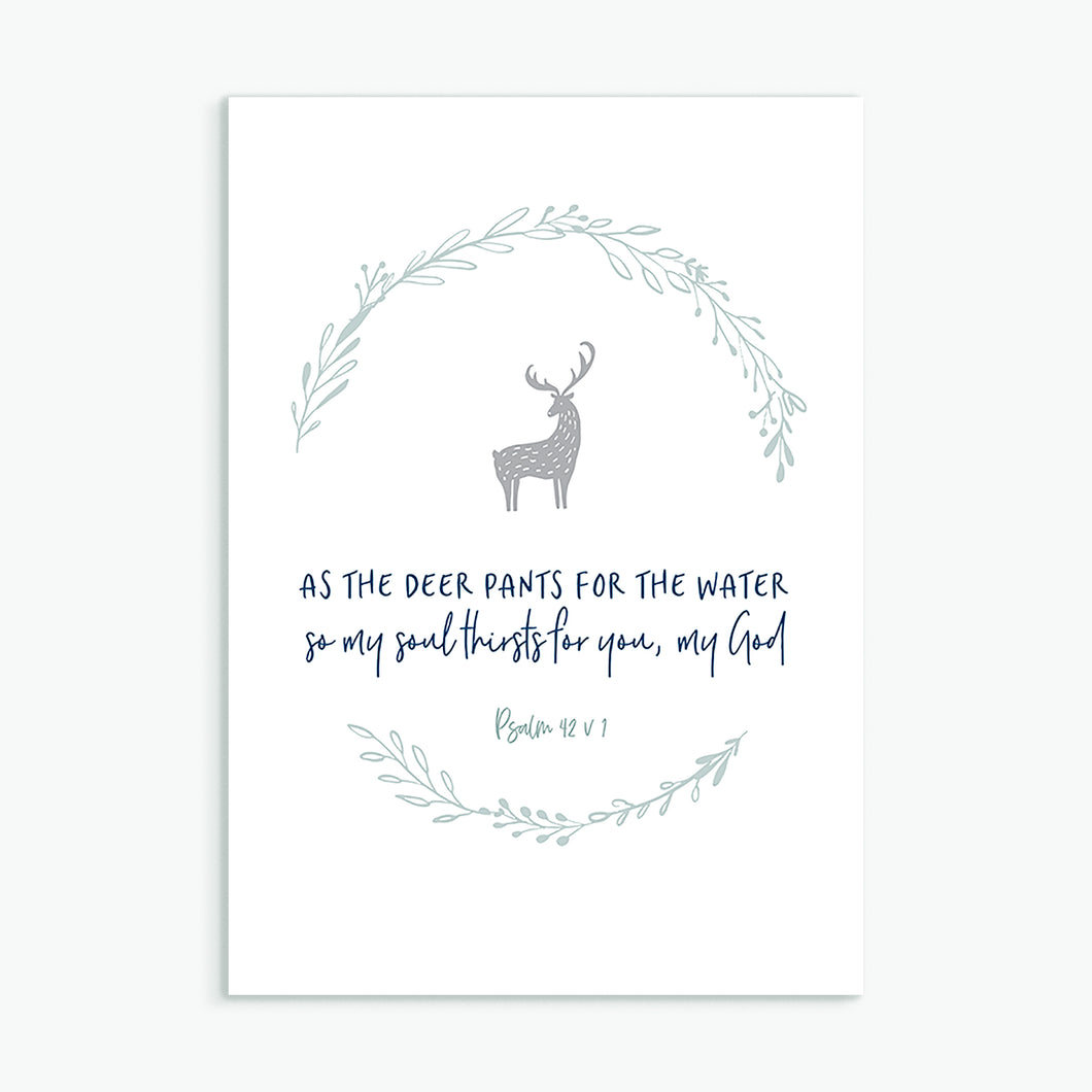 Christian greeting card As the deer