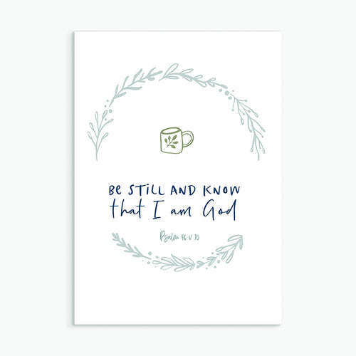 Christian greeting card Be Still and Know