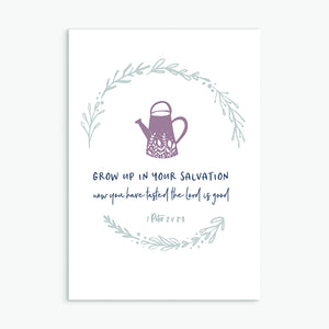 Grow up in your salvation greeting card