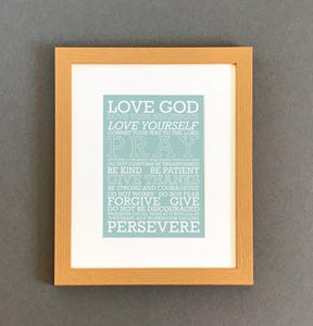 'Love God' (blue) by Preditos - Framed Print