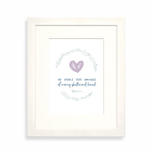 He heals the wounds of every shattered heart framed print